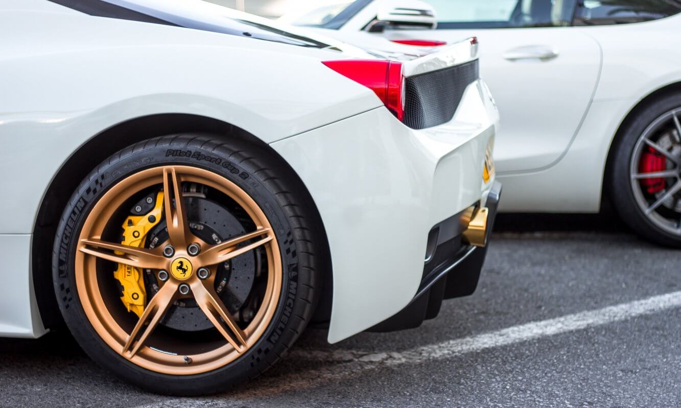 Close up photo of Ferrari wheel | DPF Cleaning Express